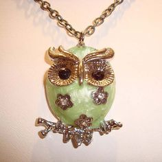 Photo of Cute Shimmer Owl Necklace Mint Green Enamel Rhinestone Owl Pendant Necklace
