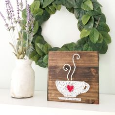 String art, String and nail art, Nail art, Coffee, Tea, Hot tea, Hot Drink, Beverage, Wood sign, Wooden Sign, Kitchen, Kitchen decor, Art by GrizzlyandCo on Etsy https://www.etsy.com/ca/listing/292726995/string-art-string-and-nail-art-nail-art