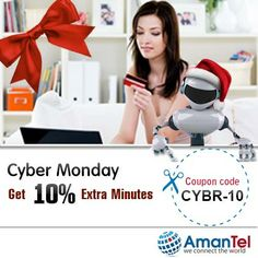 Amantel best offer on Cyber Monday (the best day of the year for shopping online). GET 10% EXTRA MINUTES AND ENJOY EXTRA TALKING....  {Coupon Code - CYBR-10}