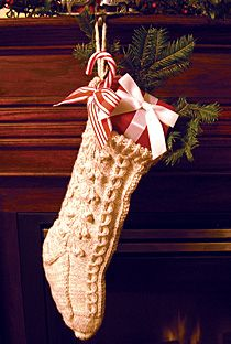 cabled knit Christmas stocking