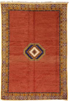 Rust Red Tribal Moroccan Area Rug