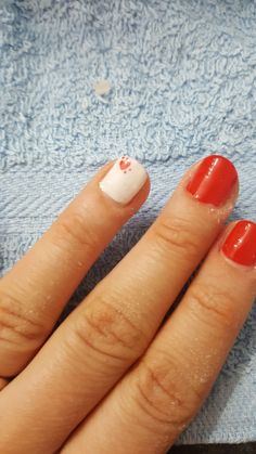 Cute Sweet Red and White Nails #Heart #mesauda
