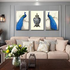 Vintage Home Decor Wall Canvas Quality Living Room Decorative Blue Peacock Painting Picture Porcelain Large Art Set