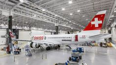 Bombardier CSeries in the Swiss livery. Image: Courtesy of AirwaysNews Swiss Air, Air Show, Aircraft, Airplanes, Aviation, Image, Inspiration, Biblical Inspiration, Planes