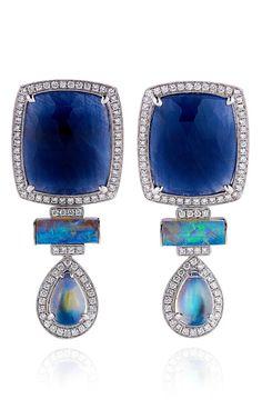Blue Sapphire And Diamond Earrings In White Gold by Dana Rebecca on Moda Operandi
