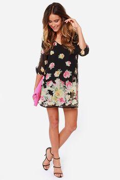 LULUS Exclusive Shifting Dears Black Floral Print Dress at Lulus.com!