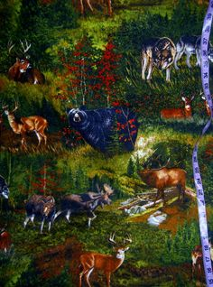 Wildlife Flannel fabric with bear deer by ConniesQuiltFabrics  #wildlife, #quilt, #fabric, #bear, #deer, #moose, #wolf, #wolves, #flannel, #sewing, #etsystore, #etsyfabric, #sale