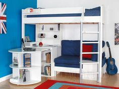 Cresta Scallywag Kids High Sleeper X 141 Bed With Futon Desk And Shelvess Loft
