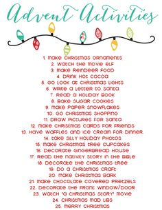 Advent Calendar Activities List - The Girl Creative