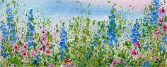 Splattered Paint Flower Garden-myflowerjournal.com  Uses watercolor background and acrylic paint for splattering