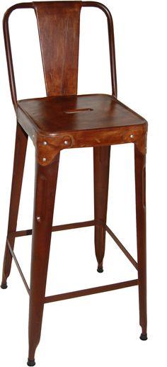 2x Barhocker, Barstuhl, Thekenstuhl, Vintage cognacfarben, Gestell
