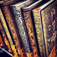 The spines of a row of @Paperblanks journal | From Instagram by @beckyyyblah