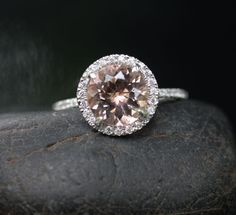 Morganite Engagement Ring Peach Pink Morganite by Twoperidotbirds