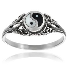 Tressa Collection Sterling Silver Yin Yang Ring | Overstock™ Shopping - Top Rated Tressa Collection Sterling Silver Rings