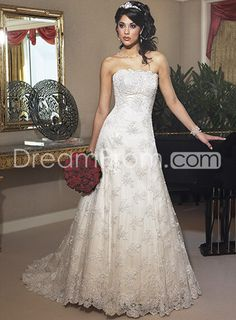 Pretty A-line Strapless Floor-length Chapel Appliques Wedding Dresses