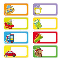 Photo about School labels. Stickers transport and objects for school. Illustration of icon, album, icons - 31966036 Name Tag For School, School Name Labels, School Frame, Printable Name Tags, Free Printable Stickers, Notebook Labels, Subject Labels, Preschool Names, Page Borders Design
