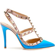 Valentino Rockstud Slingback ($945) ❤ liked on Polyvore featuring shoes, sandals, heels, valentino, обувь, blue fluo, valentino shoes, valentino sandals, heeled sandals and slingback sandals