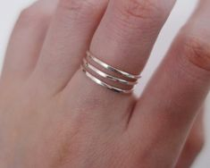 992fdf64c5366 Hammered thin spiral ring/sterling silver/14K gold filled/stacking ...