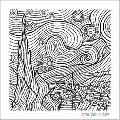 The Starry Night by Vincent van Gogh, 1889 - Vincent - Mandala Coloring Pages, Colouring Pages, Vincent Van Gogh, Op Art Lessons, Starry Night Tattoo, Arte Quilling, Van Gogh Paintings, Quilling Patterns, Pen Art