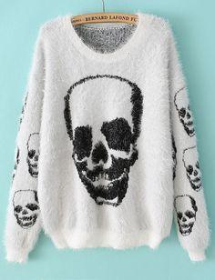 Jersey lanudo Cráneo manga larga-Blanco EUR€25.08