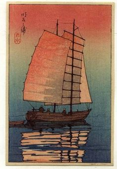"""Boat in Sunset"" by Kawase Hasui. Please like http://www.facebook.com/RagDollMagazine and follow @RagDollMagBlog @priscillacita"