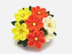 Pinza de pelo del broche flor amarilla naranja ramo por HandcraftKu