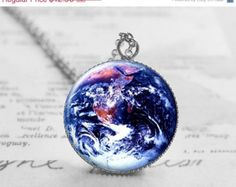 SALE Earth Necklace, Holidays Gift, Minimalist Jewelry, Planet Necklace, Solar System Jewelry, Black Friday Sale, N023