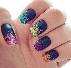 Black Base with Colourful Glitter