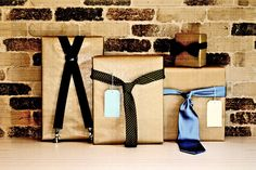 Father's Day gifts wrapped in ties and suspenders.