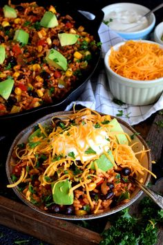30 Minute Black Bean Corn and Rice Skillet has everything a well-rounded, wholesome meal requires! Delicious flavour, protein, and veggies - this is the perfect family dinner recipe with numerous serving options! Black Bean Corn, Black Beans And Rice, Mexican Cooking, Mexican Food Recipes, Vegetarian Recipes, Healthy Black Bean Recipes, Healthy Recipes, Healthy Foods, Cooking Recipes