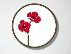 Counted Cross stitch Pattern PDF. Instant download. Poppies. Includes easy beginner instructions.