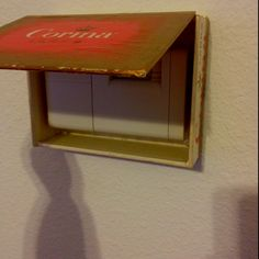 Hide your thermostat. Cute cigar box or basket (gah i need to do this! Entry Hallway, Foyer, Entryway, Altered Cigar Boxes, Hat Boxes, Game Pieces, Diy Box, Covered Boxes, Diy Wall Art