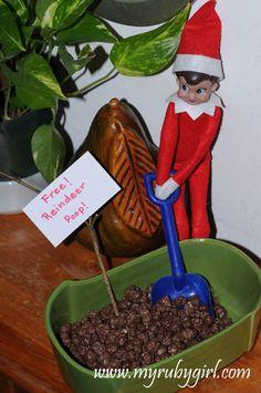 Idee voor kerstontbijt 1: Kellogs balletjes in chocola en of rozijnen (iets wat op poep lijkt) in een bakje doen met een goedkoop plastic schepje. En hierbij een sateprikker met een blaadje met de tekst: Gratis rendier poep!