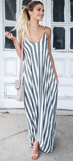 Cute Outfit Ideas To Finish This Summer With Style Cora Pocketed Maxi Dress Mode Outfits, Dress Outfits, Fashion Outfits, Womens Fashion, Style Fashion, Midi Skirt Casual, Casual Dresses, Stripped Maxi Dresses, Summer Outfits