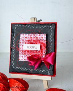 scrapbooking / kartka z życzeniami / kartka na walentynki / czarna kartka / black valentines day card