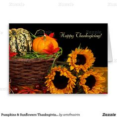 Happy Thanksgiving. Pumpkins & Sunflowers Thanksgiving Customizable Corporate, Business or Personal Greeting Cards for your customers, clients, vendors, suppliers, employees or for your family and friends. Matching cards, postage stamps and other products available in the Holidays / Thanksgiving Category of the artofmairin store at zazzle.com