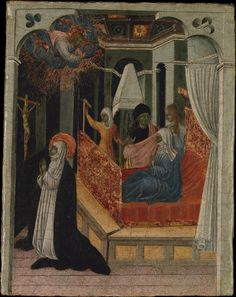 Saint Catherine of Siena Beseeching Christ to Resuscitate Her Mother  Artist:Giovanni di Paolo (Giovanni di Paolo di Grazia) (Italian, Siena 1398–1482 Siena) Date:ca. 1447–65 Medium:Tempera and gold on wood Dimensions:11 x 8 5/8 in. (27.9 x 21.9 cm) Classification #paintings #art  This panel along with another in the #Lehman Collection (1975.1.34) belong to a narrative cycle depicting scenes from the life of Catherine of #Siena, a fourteenth-century Dominican #saint .