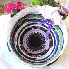 HANDMADE COILED FABRIC MULTI COLOR BASKET ROPE QUILT+LACE FOR BREAD+DECOR GIFT