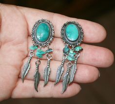 Old Pawn Turquoise & Feathers Earrings Plus Free USA Shipping! by Route66Diner on Etsy