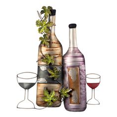 Bottle and Glass Wall Decor