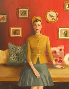 """Janet Hill - """"The Matriarch Of Black Walnut Manor. Silke Was An Inventor, An Amateur Ornithologist And Kept A Well Ordered House"""" Limited Edition Print Janet Hill, Canadian Painters, Illustrations, Vintage Glamour, Timeless Beauty, Timeless Fashion, Vintage Fashion, Limited Edition Prints, Art Studios"""