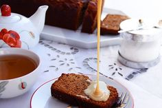 """Date Cake with Milk Sauce - from """"Taste of Beirut""""."""