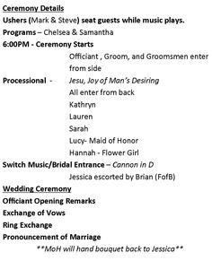 Wedding And Reception Timelines  Wedding Reception Timeline