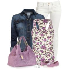 "white jeans outfit: ""Denim Jacket"" by immacherry on Polyvore"