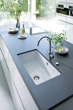 Exceptional Kitchen Remodeling Choosing a New Kitchen Sink Ideas. Marvelous Kitchen Remodeling Choosing a New Kitchen Sink Ideas. Slate Countertop, Black Countertops, Kitchen Countertops, Kitchen Sinks, Kitchen Mixer, Kitchen Islands, Slate Worktops, Kitchen Cabinets, Kitchen Soffit