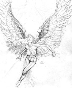 sketch girl with wings
