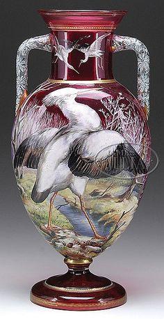 Moser Glass; Vase, Handled, Heron by Stream, Enamel Decoration, Cranberry, 20 inch.