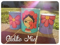 Painted Flower Pots, Painted Pots, Hand Painted, Tin Can Crafts, Diy And Crafts, Crafts For Kids, Painted Tin Cans, Sunroom Decorating, Mexican Art