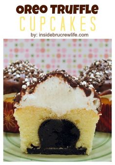 Oreo Truffle Cupcakes - Oreo truffles and 2 kinds of frosting make these cupcakes a fun and exciting way to celebrate anything