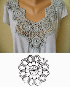 DIY crochet insets for t-shirts.  In Spanish but with charts.
